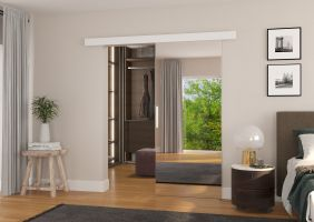 Interiérové posuvné dveře TESS - Bílá / Zrcadlo - 80cm