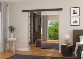Interiérové posuvné dveře TESS - Choco / Zrcadlo - 80cm