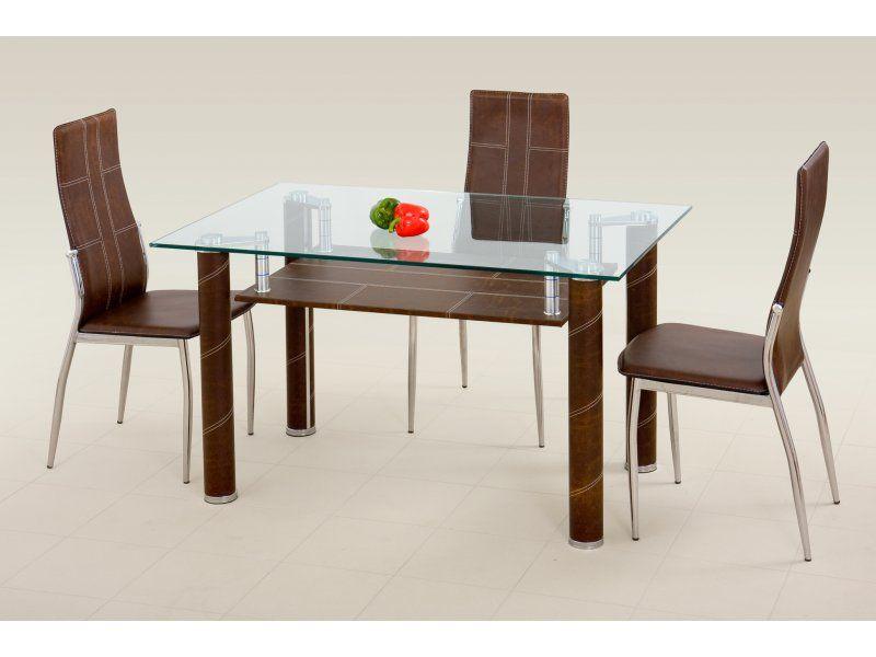 Halmar Skleněný jídelní stůl Gavin barva Hnědá