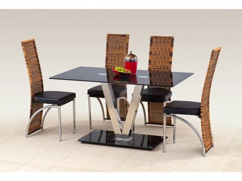 Halmar Skleněný jídelní stůl Velvet barva černá